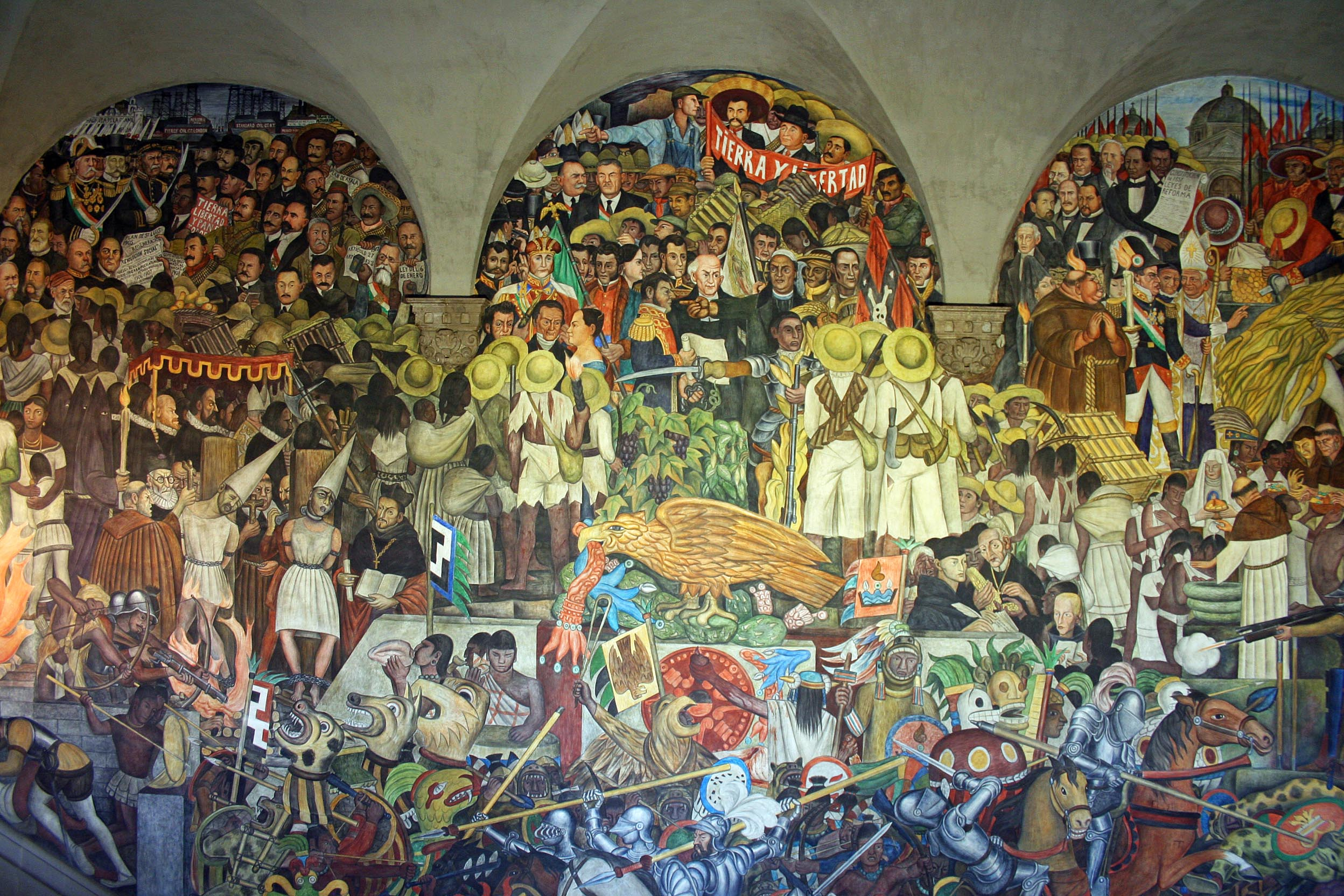 Mexican history depicted through muralism murality for Mural history